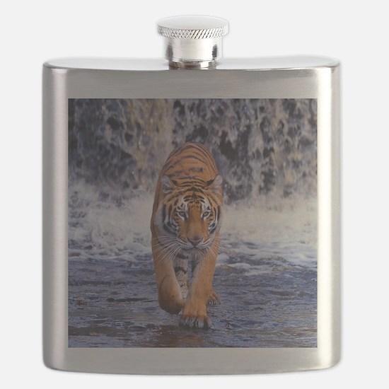 Tiger In Waterfall Flask