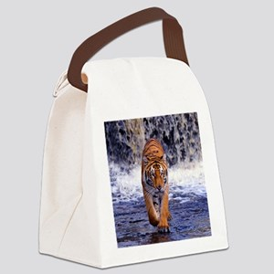 Tiger In Waterfall Canvas Lunch Bag