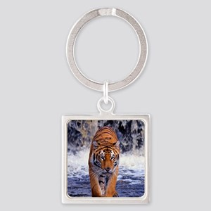 Tiger In Waterfall Keychains