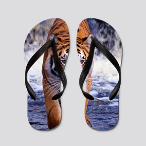 Tiger In Waterfall Flip Flops