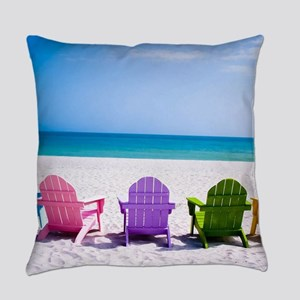 Lounge Chairs On Beach Everyday Pillow