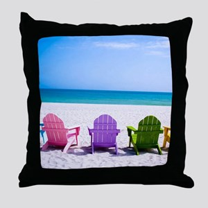 Lounge Chairs On Beach Throw Pillow