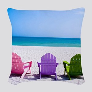 Lounge Chairs On Beach Woven Throw Pillow