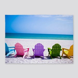 Lounge Chairs On Beach 5'x7'Area Rug