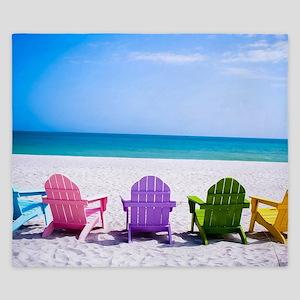 Lounge Chairs On Beach King Duvet