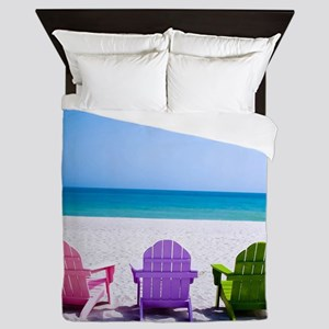Lounge Chairs On Beach Queen Duvet