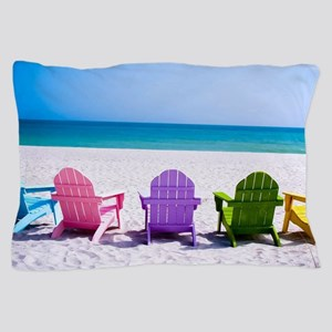 Lounge Chairs On Beach Pillow Case
