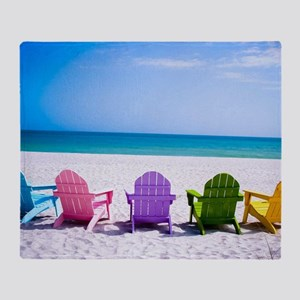 Lounge Chairs On Beach Throw Blanket