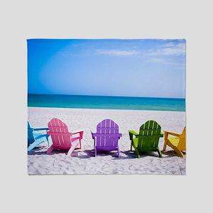 Lounge Chairs On Beach Throw Blanket