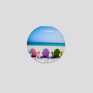 Lounge Chairs On Beach Mini Button