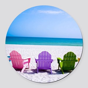 Lounge Chairs On Beach Round Car Magnet