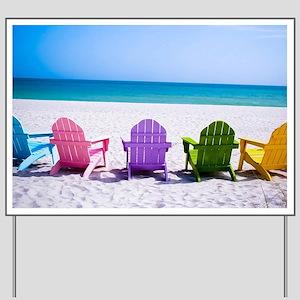 Lounge Chairs On Beach Yard Sign
