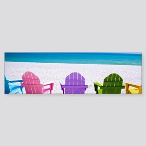 Lounge Chairs On Beach Bumper Sticker
