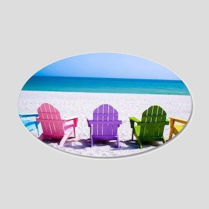 Lounge Chairs On Beach Wall Sticker