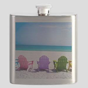 Lounge Chairs On Beach Flask