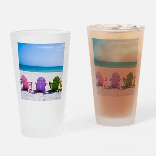Lounge Chairs On Beach Drinking Glass
