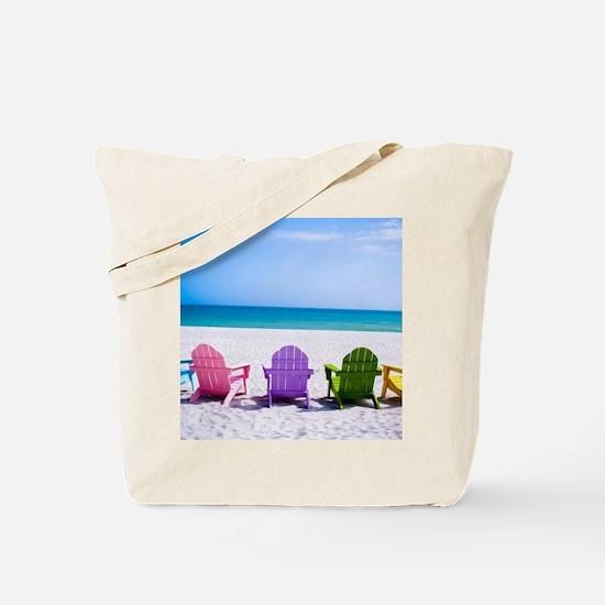Lounge Chairs On Beach Tote Bag