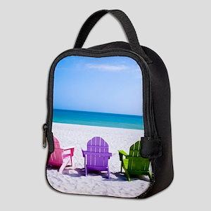 Lounge Chairs On Beach Neoprene Lunch Bag