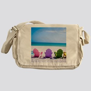 Lounge Chairs On Beach Messenger Bag