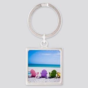 Lounge Chairs On Beach Keychains