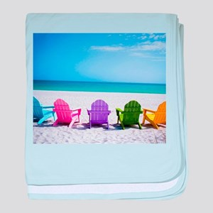 Lounge Chairs On Beach baby blanket