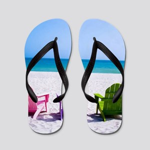 Lounge Chairs On Beach Flip Flops