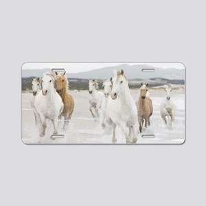 Horses Running On The Beach Aluminum License Plate