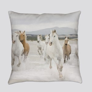 Horses Running On The Beach Everyday Pillow