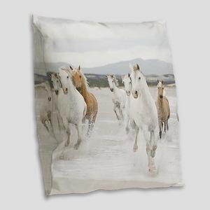 Horses Running On The Beach Burlap Throw Pillow