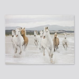Horses Running On The Beach 5'x7'Area Rug