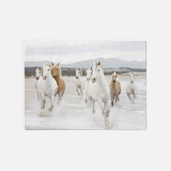 Horses Running On The Beach 5'x7'Area Rug