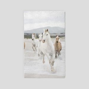 Horses Running On The Beach Area Rug