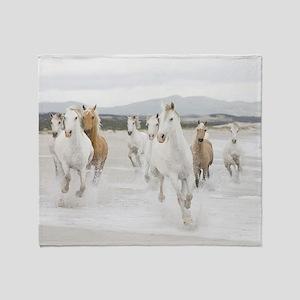 Horses Running On The Beach Throw Blanket
