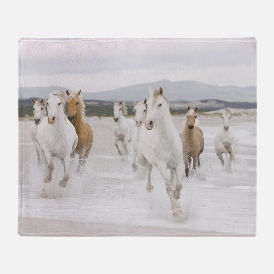Horses Running On The Beach Throw Blanket