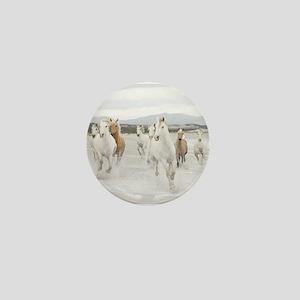 Horses Running On The Beach Mini Button