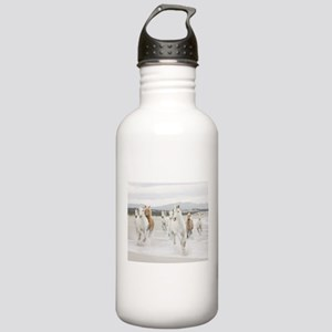 Horses Running On The Beach Sports Water Bottle