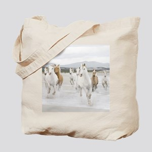 Horses Running On The Beach Tote Bag