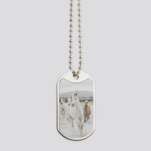 Horses Running On The Beach Dog Tags