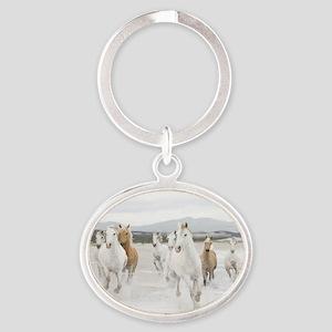 Horses Running On The Beach Keychains