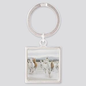 Horses Running On The Beach Keychains