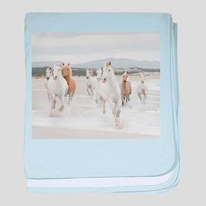 Horses Running On The Beach baby blanket