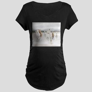 Horses Running On The Beach Maternity T-Shirt