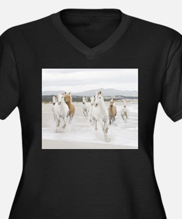 Horses Running On The Beach Plus Size T-Shirt