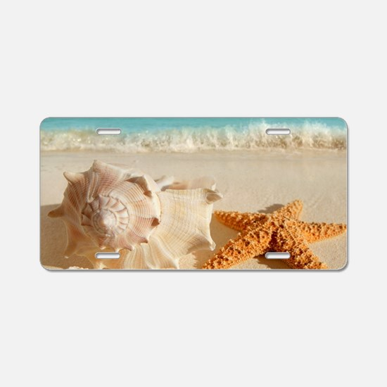 Seashell And Starfish On Beach Aluminum License Pl