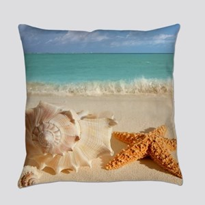 Seashell And Starfish On Beach Everyday Pillow