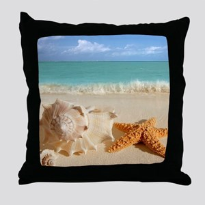 Seashell And Starfish On Beach Throw Pillow