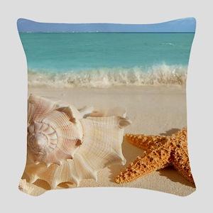Seashell And Starfish On Beach Woven Throw Pillow