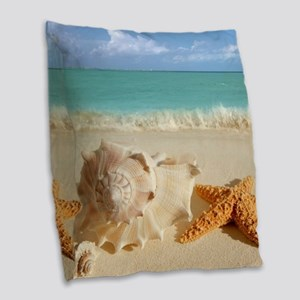 Seashell And Starfish On Beach Burlap Throw Pillow