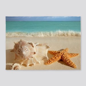Seashell And Starfish On Beach 5'x7'Area Rug