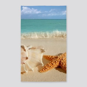 Seashell And Starfish On Beach Area Rug